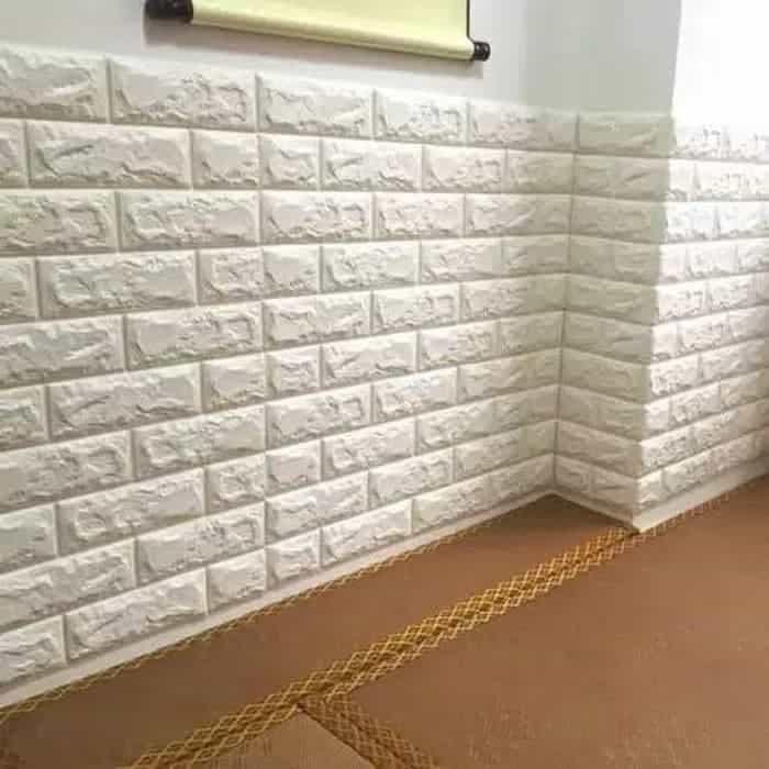 Wallpaper 3D dengan motif bata putih