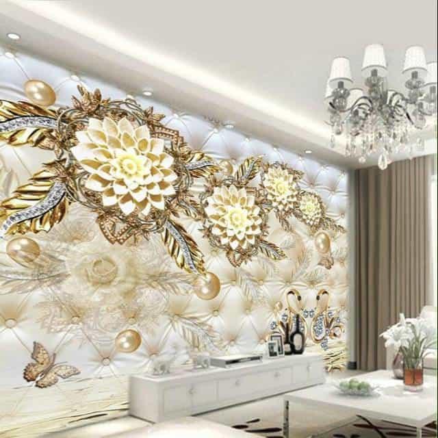 Wallpaper 3D dengan motif floral