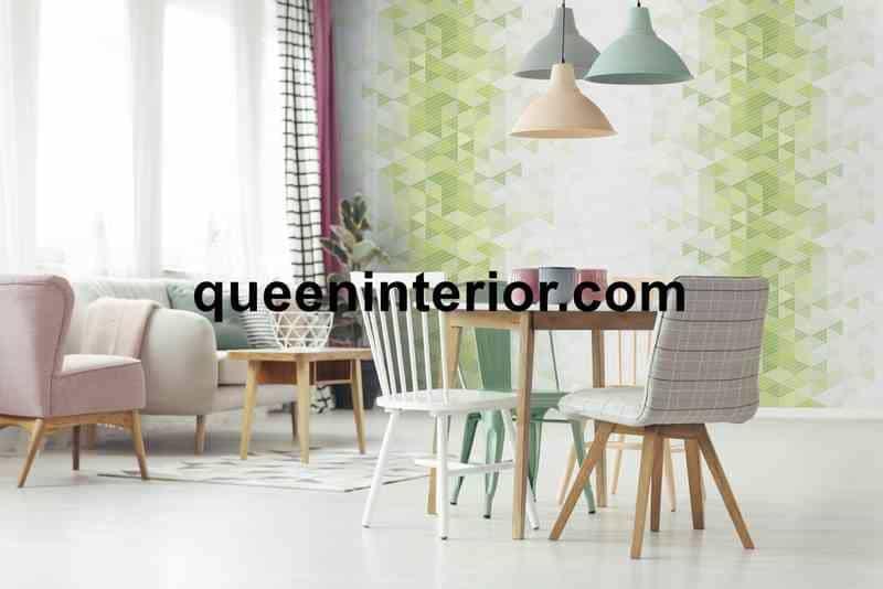 Wallpaper Dinding dengan Motif Hijau Abstrak